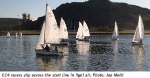 Sailboats racing at Tempe Town Lake