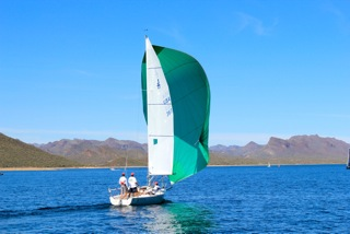 Mike's J/80 warming up for a Saturday race. Photo: Peter Hartleb