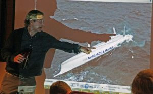 Peter Isler points out where Rambler's keel should be.