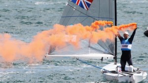 Ben Ainslie celebrates after winning the gold in the Finn class.