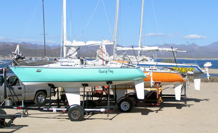 "Santana 20s ready for launching, with Dave Cummings' ""Bird of Prey"" out front."