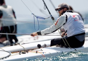 Andrew Campbell sailing a Star on the US Sailing Team.