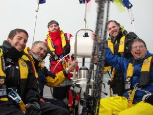 Jonathan Abel-Millman (left) and crew in a storm off Norfolk.