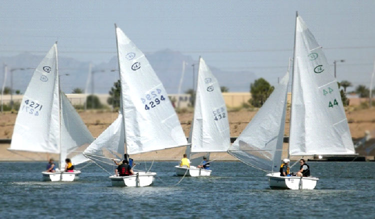 Wing-on-wing downwind at the Championship Regatta.