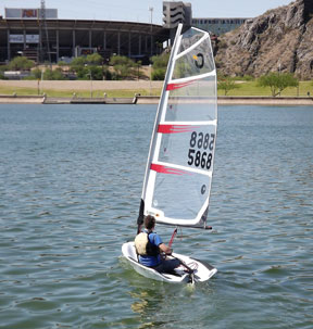 Gerald Byrnes tries out the new O'pen Bic on Tempe Town Lake. Photo: Phil Freedman