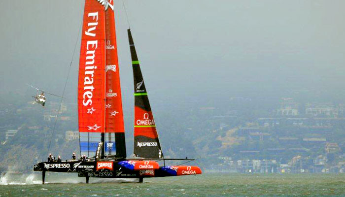 Team New Zealand flying in SF Bay. Photo: Mike Yarnell
