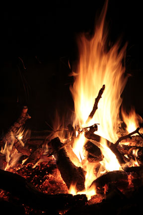 The night ends with a blazing fire and lots of chatter.