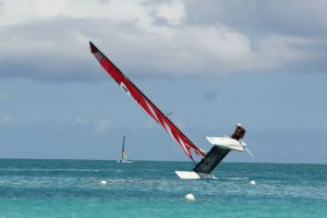 August in the Caribbean is a good way to cool off - Hobie Max (18) from ClubMed is a fun, fast and easy-to-fly cat. Probably spent more time on one hull than two, staying true to my monohull tradition! -Victor Felice