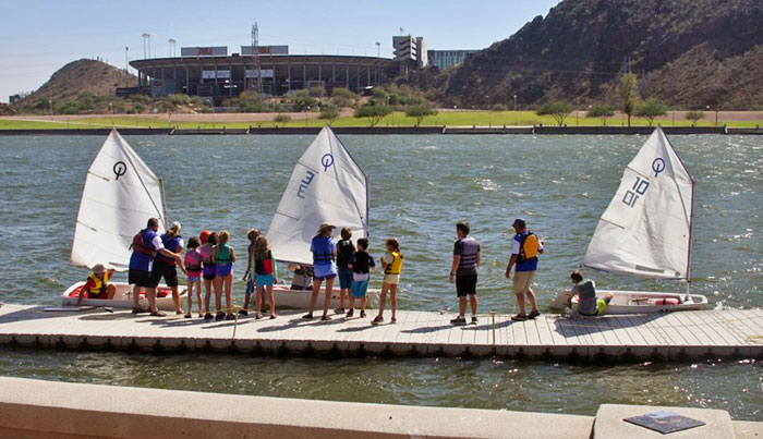 The Fall 2013 Opti class lined up on the floating dock at Tempe Town Lake. Photo: Mark Howell