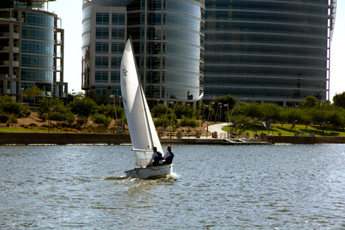 Learn to sail, just like this, on Tempe Town Lake. Photo: Mike Ferring