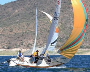 Santana 20 champ Martin Lorch with son Cedric and Kyle Clark in big wind last year. Photo: Chris Smith
