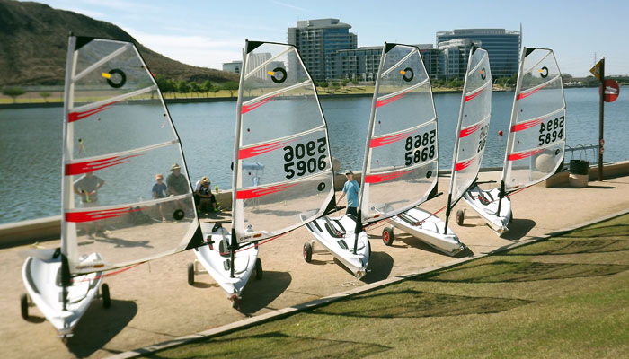 The O'Pen Bics were available for test drives, recruiting juniors to the February class in these exciting new boats. Photo: Phil Freedman