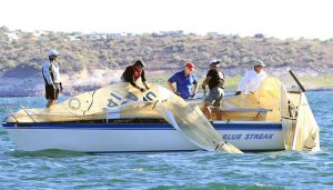 Norm Anderson's Blue Streak dismasted. No one hurt. Photo: Chris Smith