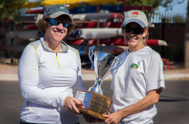 Cindy Pillote and Chrisann Tortora lift the Ruth Beals Cup trophy for 2013. Photos: Mike Ferring