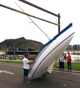 An ASF C14 sailboat punched off its trailer by the mast-killing bar. Photo: George Tingom