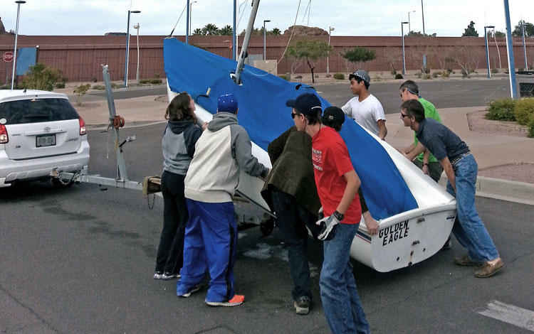 The boat was eased back onto the trailer with minimal damage. Photo: George Tingom