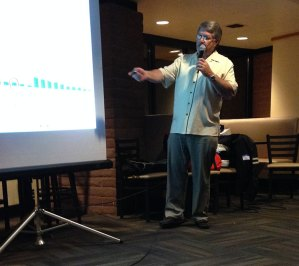 Bruce Brown points to a graph showing boating accidents. Photo: Mike Ferring