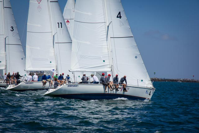 The Catalina 37 starts were challenging on a short line and 11 big boats. Photos: Mike Ferring