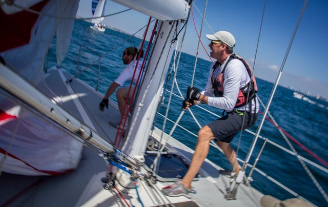 Rob Gibbs wind sprints the spin halyard.