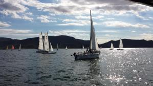 Boats mill around the start line on Saturday (9/20). Some 34 boats ran the race for the Guinness World Record. Photo: Victor Felice