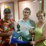 Vilinda and Eric Smaltz exchanged burgees, food and fellowship with Commodore Jim Saylor of the Nawiliwili Yacht Club, Lihue, Kauai after a great day of one design Olson 30 racing.