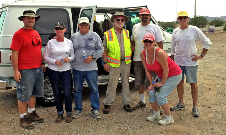 A previous AYC work party. A highway cleaning crew with Mike Parker, Jo and Mike Grijalva, Mike Yarnell, Dennis and Claudia Swift and Chuck Sears. Thom Dickerson is behind the camera.