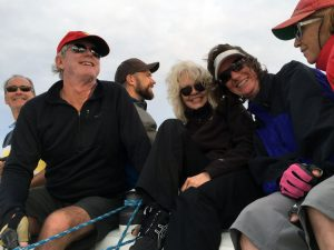 Crowd shot! The mob aboard Melissa Kay for the Governor's Cup. From left: Dave Haggart, Bob Whyte, Ryan Hanks, Becky Houston, Stacey Haggart, and Maryellen Ferring. Photo: Mike Ferring