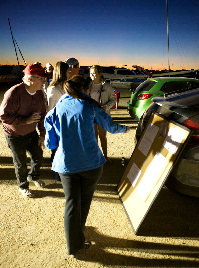 Checking out the scores during the 2014 Birthday Regatta. Photo: Peter Howson.