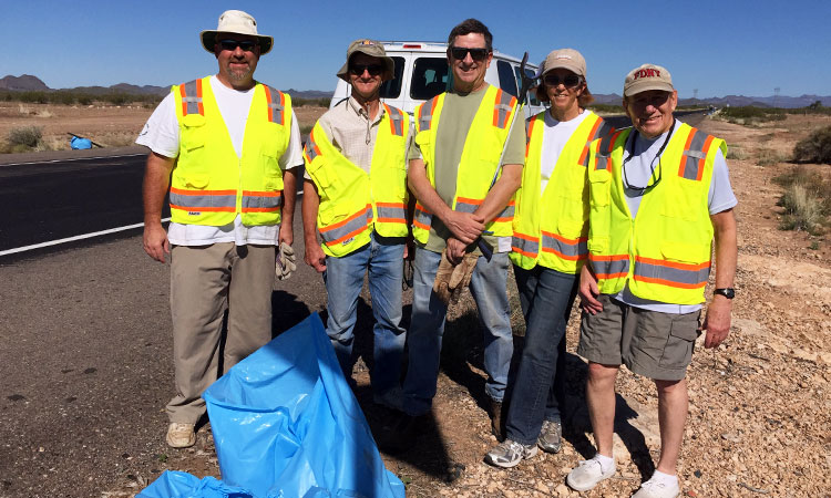 Highway Cleaners (l to r): Peter Lehrach, Martin Lorch, Mike & Maryellen Ferring, Thom Dickerson. Not pictured because she was taking the picture: Katherine Roxlo