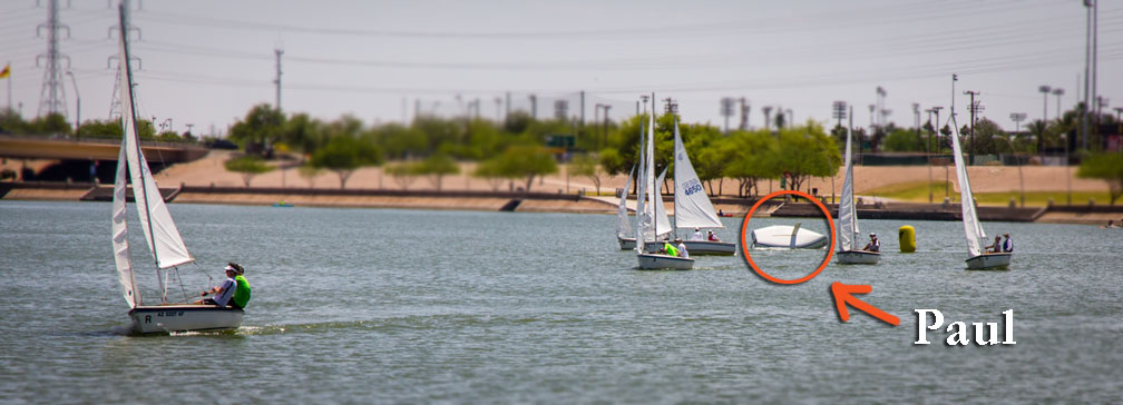 Paul Liszewski flips Ferrings' boat at the windward mark. (Click for bigger size)