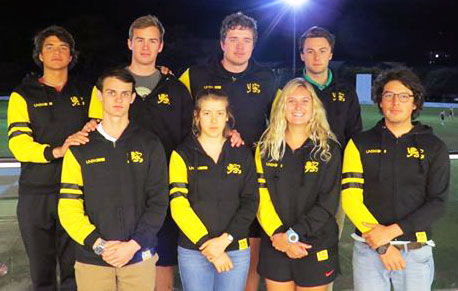 Alex Heisler (with long blonde hair) and her Australian college sailing team.