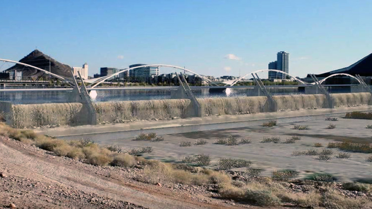 A frame of the City of Tempe's video showing a simulation of the dam in operation.