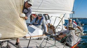 """Commodore candidate Bruce Andress at the helm of """"Bitchen"""" Photo: Charles Landis"""