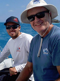 Chris Smith (right) and Match Racing Champ Taylor Canfield hanging out at the Bitter End Yacht Club