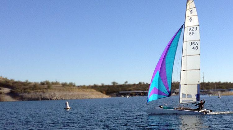 2015 Governor's Cup winner Jim Tomes on his F18HT catamaran.