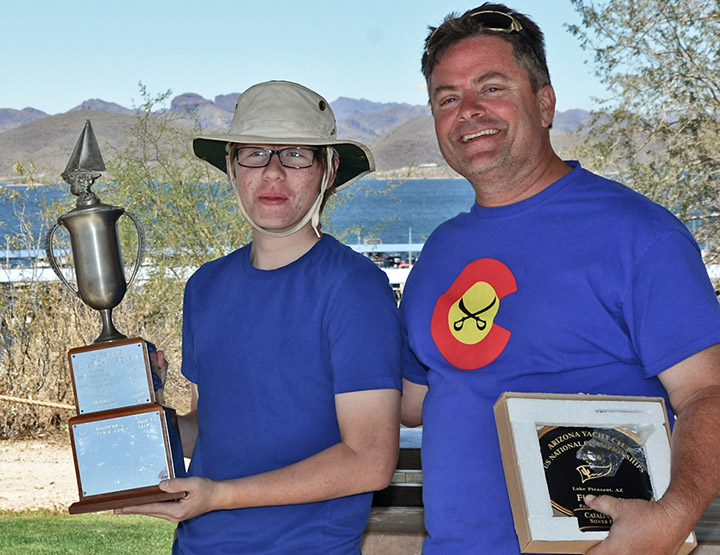Hunter and Mike Paker won the Silver Fleet trophy for C14. Photo: Gerald Byrnes
