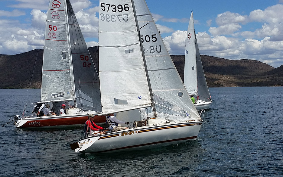 One of the light wind race starts. Photo: Dave Howell