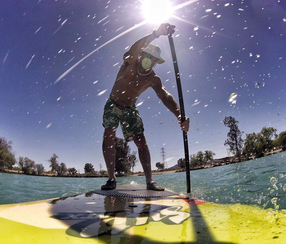 That's AYC's Chris Smith aboard a stand-up paddleboard. Chris has gotten so into the sport that he's offering lessons at http://www.bajaarizonasup.com/