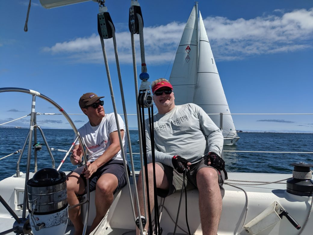 Helmsman Joel Hurley and Main Trimmer Dave Rawstrom